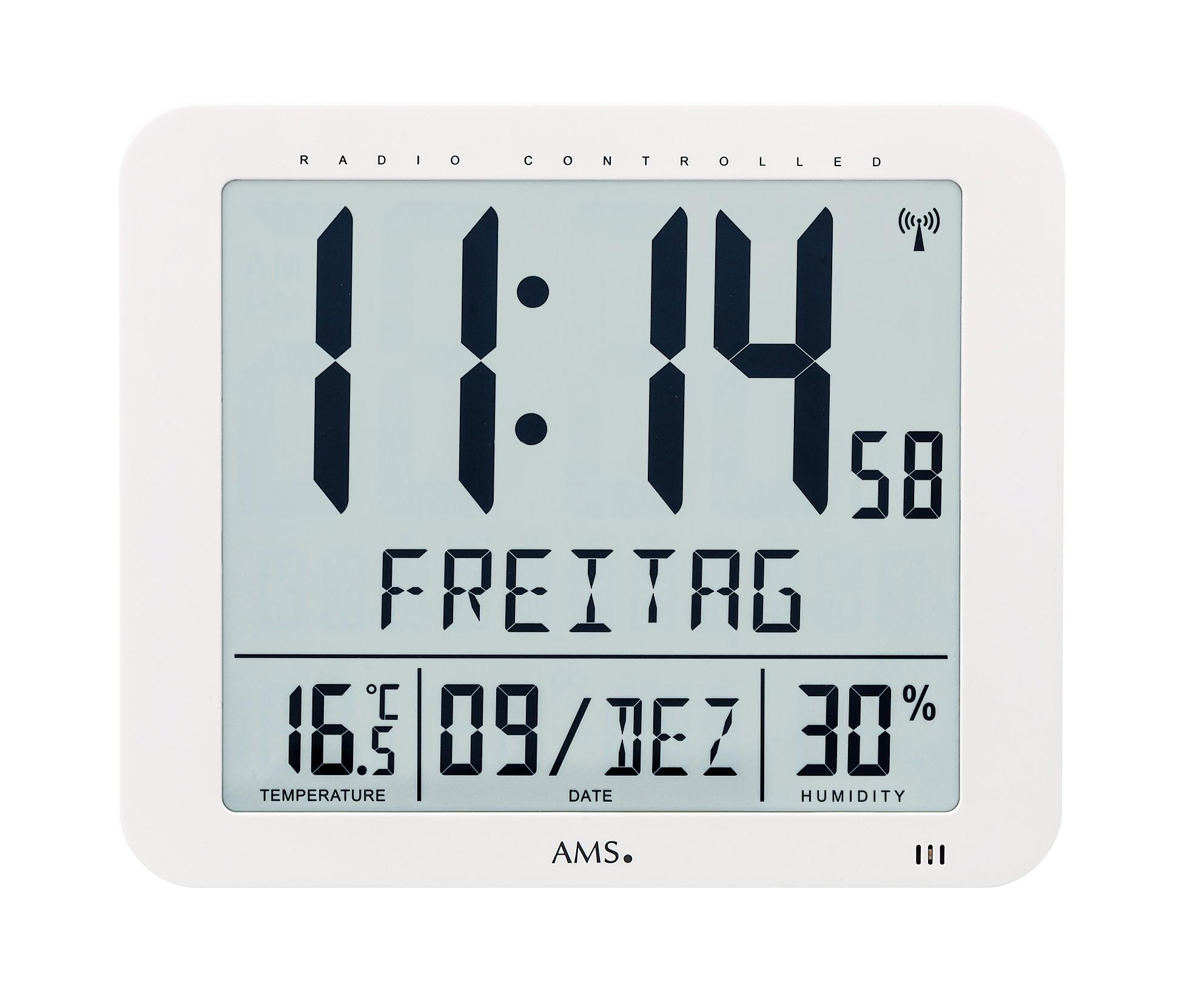Horloge radio-pilotée digitale jour et date : Découvrez nos horloges  radio-pilotée AMS